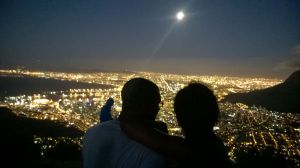 Meryl and I on top of Lion's Head, overlooking Cape Town after sunset...