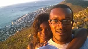 Meryl and I. Sea Point in the background
